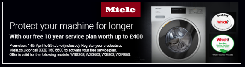 Miele Free 10 year washing machine service plan