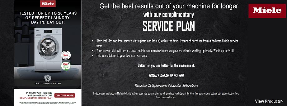 Miele service plan promotion at Cartersdirect in Brighton, Haywards Heath, Horsham, Worthing, Southwick, Storrington